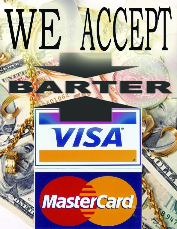 We accept Barter, Visa, Master, Amex and Cash!